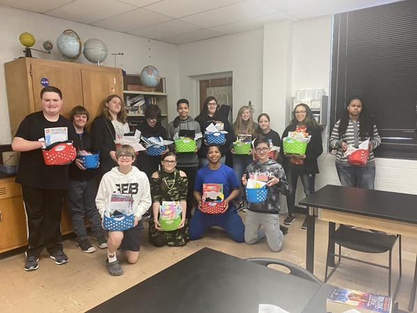 Brandi Justice's Leadership Class- making care baskets for cancer center patients.